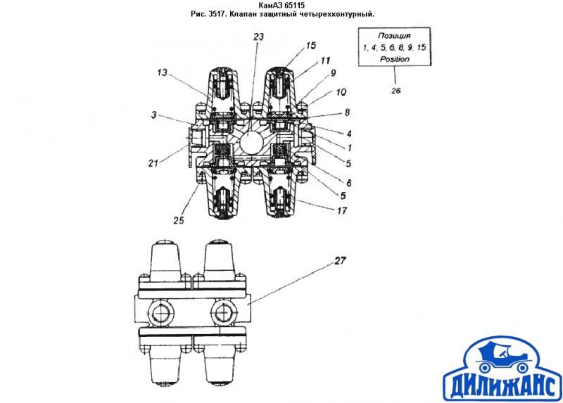 Четырехконтурный защитный клапан камаз схема